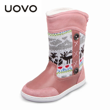Girls Boots 2015 New Winter Brand Snow Boots Genuine Leather Knitted Printing Warm Cotton Shoes(China (Mainland))