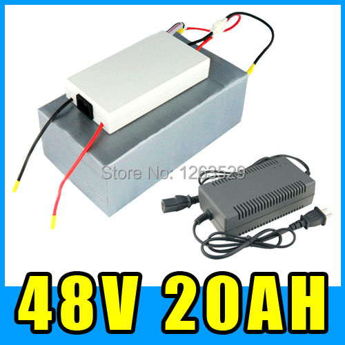 48V 20AH Lithium battery electric bicycle Scooter battery with 54.6V 3A charger ,BMS System , FREE SHIPPING 20154820-001(China (Mainland))