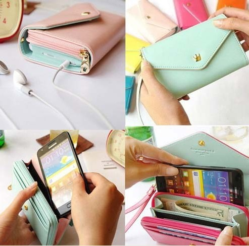 Free shipping New Multifunctional Envelope Wallet Purse Phone Case for Iphone 5 Galaxy S3 S4