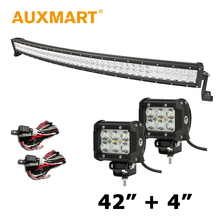 Auxmart 5D 400W 42 inch LED Light Bar Cree Chips Combo Beam +2x 4 inch 18w Flood Light Fit Camper Trailer 4x4 Offroad Driving(China (Mainland))