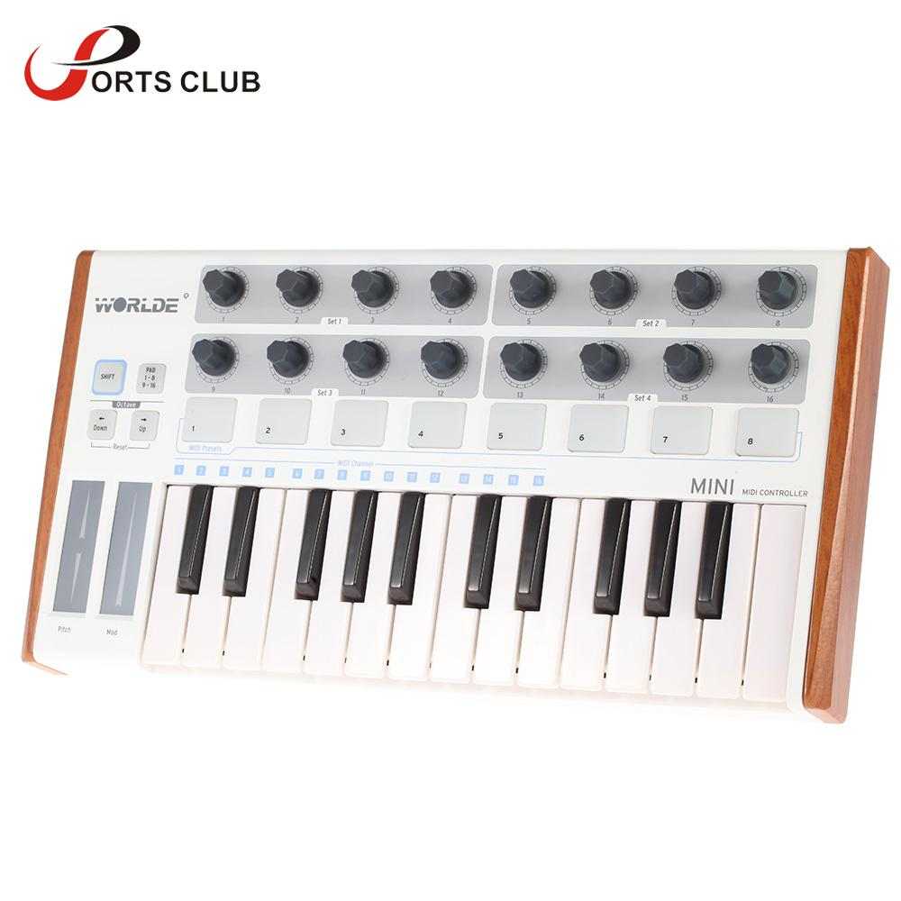High Quality Worlde Ultra-Portable Mini 25-Key MIDI Keyboard Controller and USB MIDI Drum Pad Professional(China (Mainland))