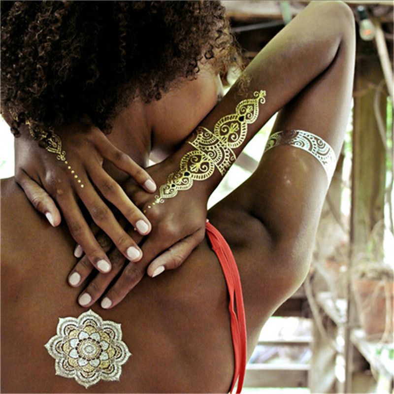 New Metalic Tatoos Gold Metallic Temporary Flash Tattoos Sex Products Henna Metal Bling Tatouage Body Paint Stickers(China (Mainland))