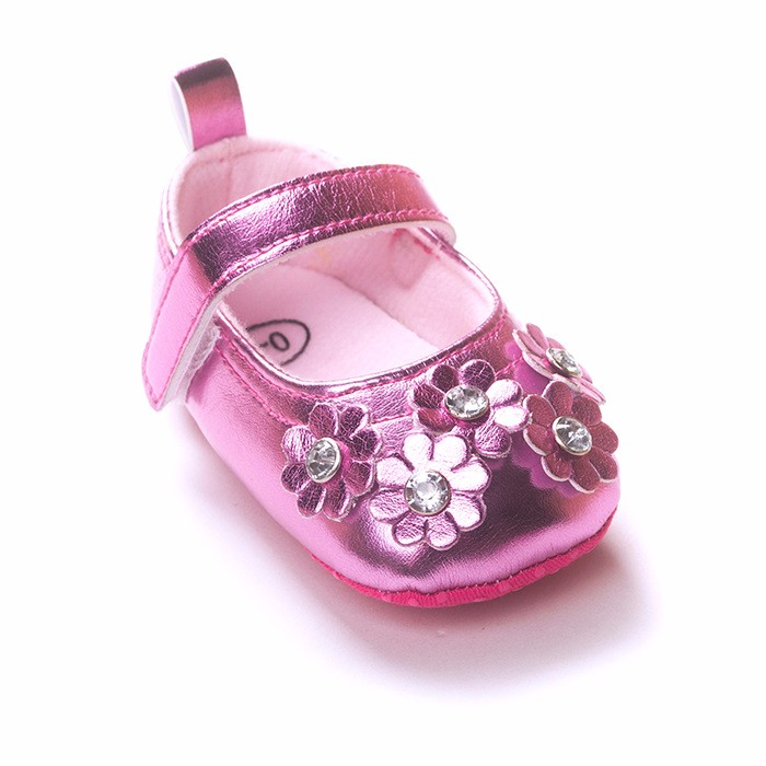 Spring/Autumn Pink Warm Color Baby Girl Shoes Multi-layer Flowers Princess First Walkers Unique Transparent Crystal Baby Shoes