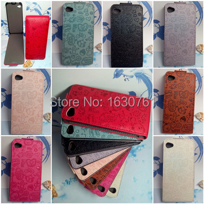 For iphone 4 4S Flip Leather Case High Quality for iphone 4 4s Hard Protector Cell Phone Cover Case Free Shipping(China (Mainland))