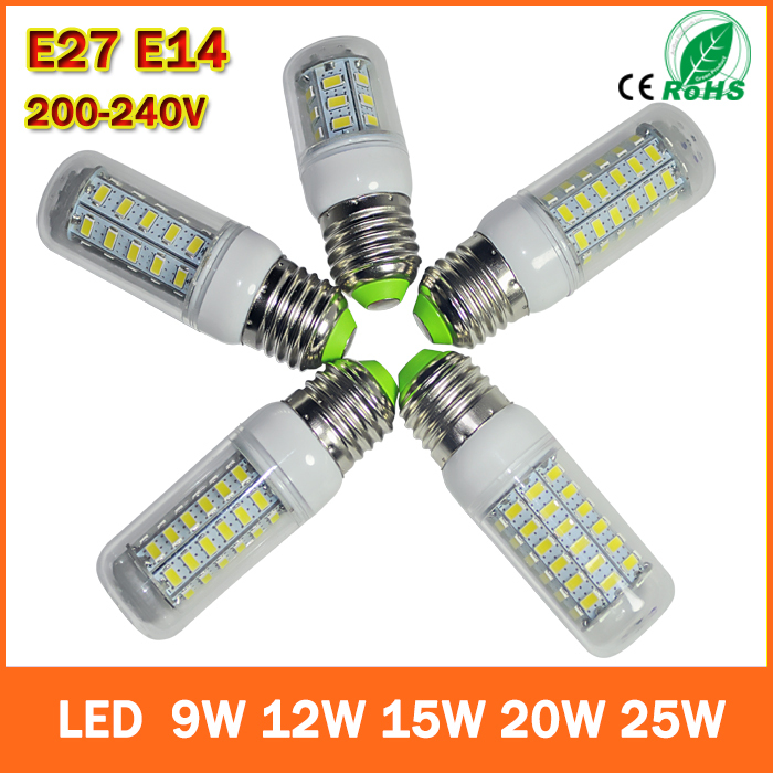 1pcs/Lot led corn bulb 9w 12W 15w 20W 25w E27 E14 Led Bulb Lamps AC 220V Ultra Bright 5730SMD LED Corn Bulb light Chandelier(China (Mainland))