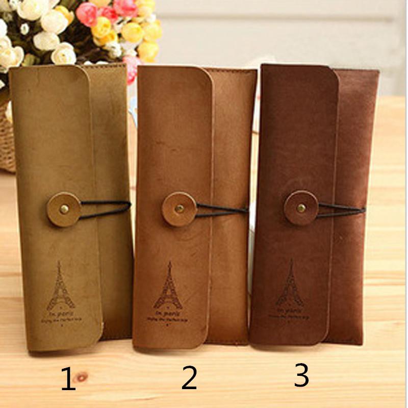 Retro Suede leather Pencil Bag Brown Pen Bags Case Papelaria Cute Korean Stationery Store Estuches School supplies(China (Mainland))