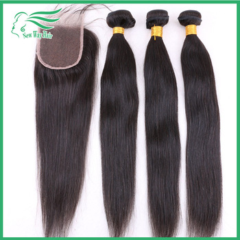 7A grade brazilian virgin hair straight with closure bleached knots, unprocessed human hair extension, full density lace closure