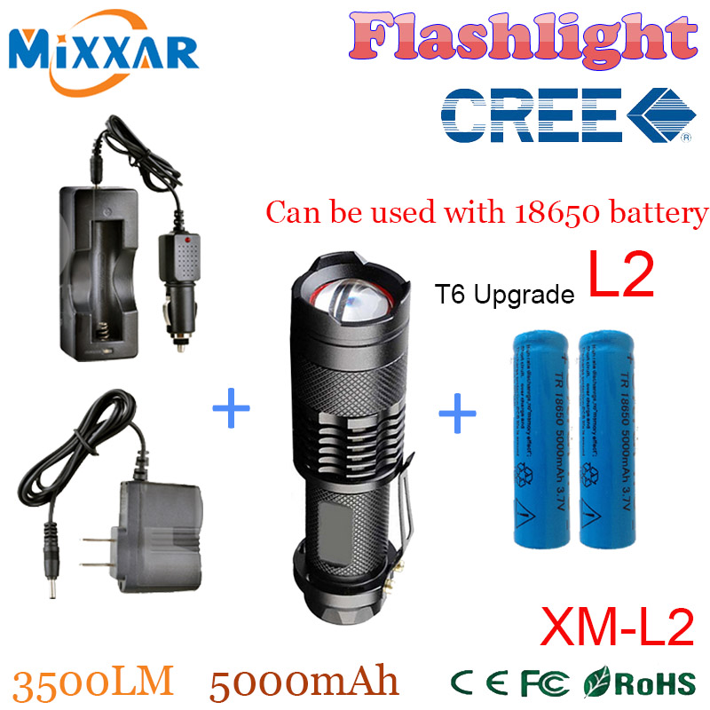 zk50 LED Flashlights CREE XM L2 3500LM led lanterna 5 mode Zoomable Waterproof Aluminum Torch for