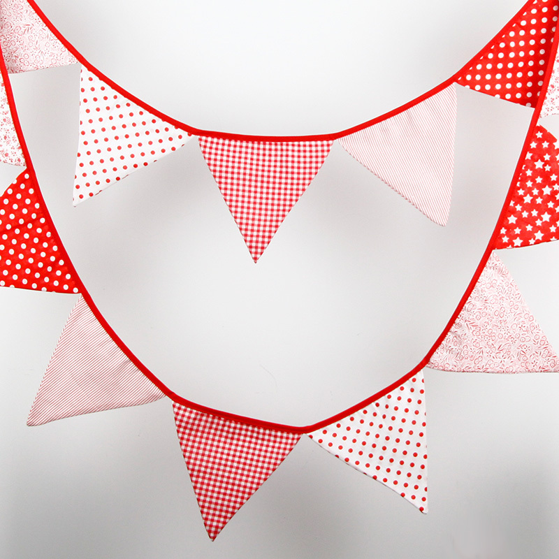 14 Flags - 3.4M Cotton Fabric Banners Personality Wedding Bunting Decor Candy Red Party Birthday Baby Show Garland Decoration(China (Mainland))