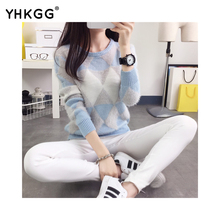 2016 new female pullovers yhkgg winter warm spring autumn fashion women sweater long-sleeved grid casual ladies sweater