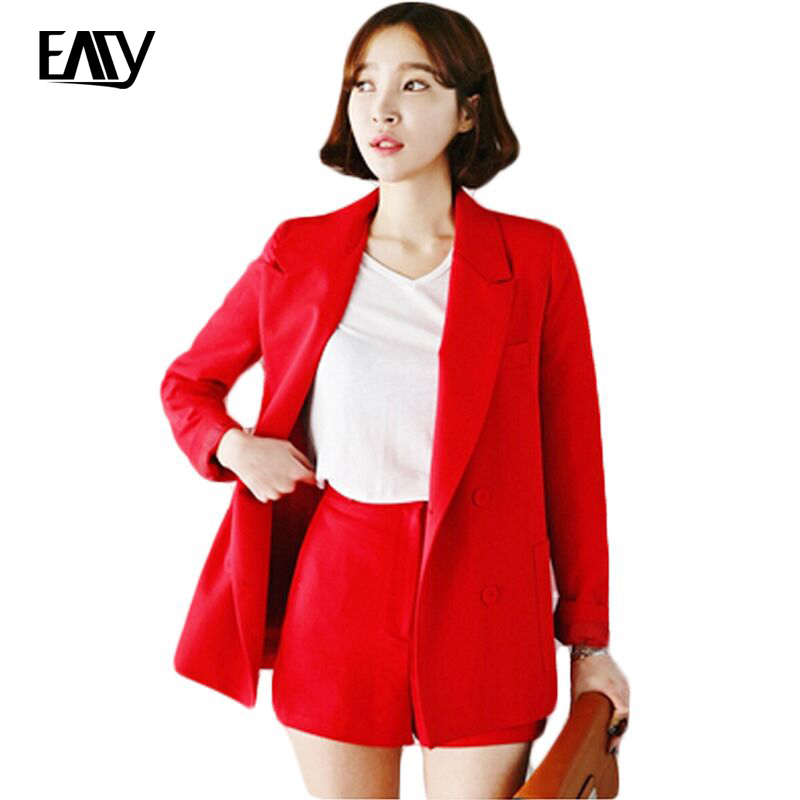 2 Piece Set Blazer and Shorts 2016 New Autumn Spring Fashion Korean Style Sweet All Match Solid Color Women Office Work Suits(China (Mainland))