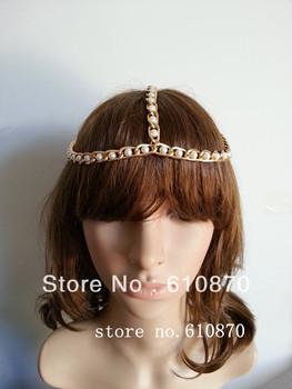 Wholesale Beads Hair Chain Jewelry 10pcs/lots Chunky Ladies Gold Pearl Head Band Hair Cuff Headdress Boho Headwrap