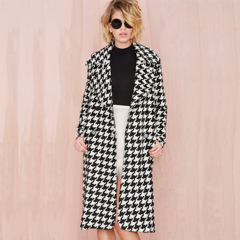 2015 winter euramerican fashion temperament big lapel double-breasted houndstooth long trench coat for womenОдежда и ак�е��уары<br><br><br>Aliexpress