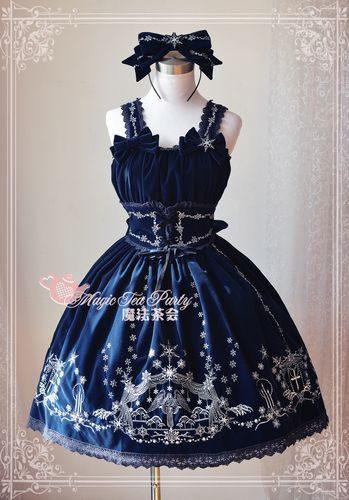 Cosplay Magic Embroidery Paragraph Lolita Dress Women Hoop Black Blue Green S/M/L/XL Free
