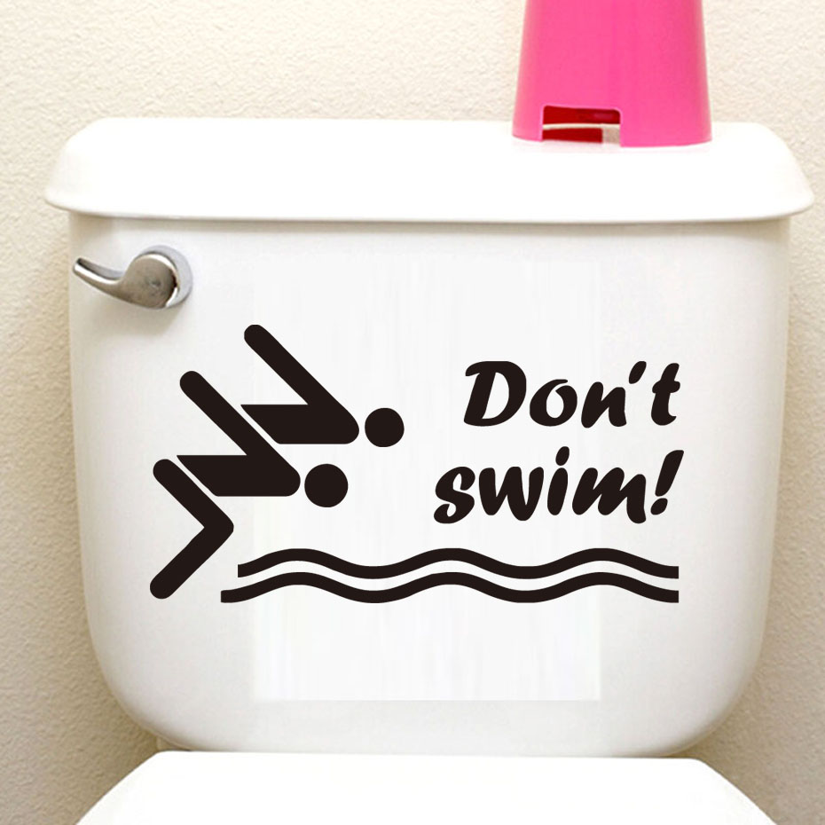 dctop swimming athlete jumping funny toilet sticker donu0027t swim quote bathroom wall decoration home decals creative sticker
