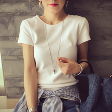 2016 Women Summer Style Solid color o-neck short Sleeve Shirts Fashion European and American Tops & Tees Blouses(China (Mainland))