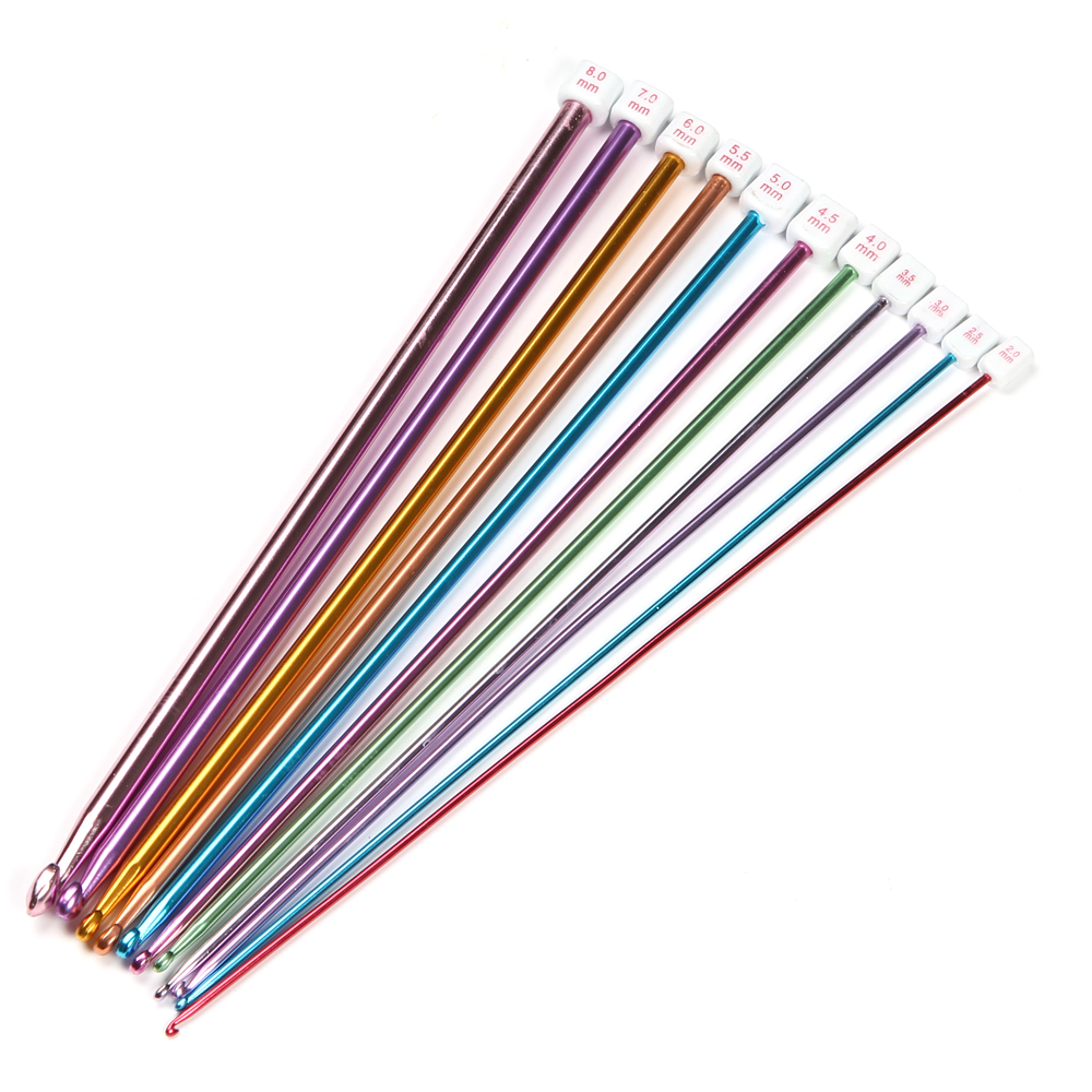 11 PCS 2-8mm Multicolour Aluminum TUNISIAN AFGHAN Crochet Hook Knitting Needles Free Shipping D000035