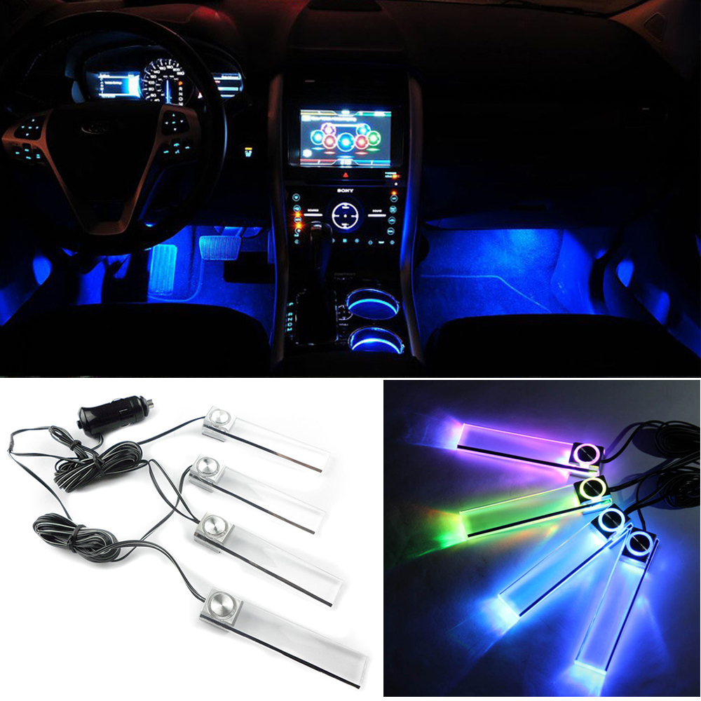 4pcs/set multicolor Automotive Ambient Light Car LED mood light interior decorative lights interior foot lights car styling(China (Mainland))
