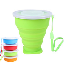 Portable Folding Collapsible Silicone Cup Pop Up Cup Outdoor Travel Accessories Camping Hiking Home Mug with Lid & Strap (China (Mainland))