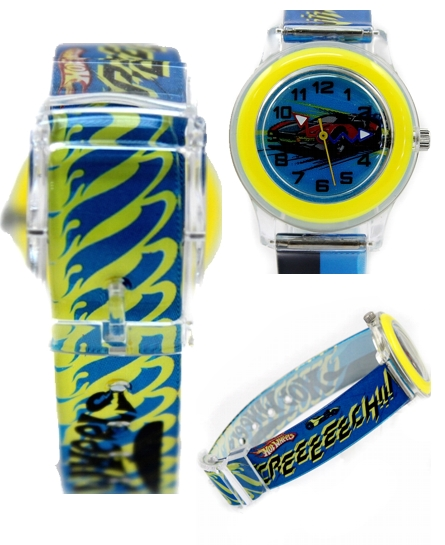 Kid''s Cartoon Car Printing Dial, New Blue Band Round Yellow Watchcase Children Watch KW036A(China (Mainland))