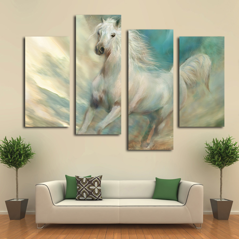 Wall Art Bedroom Modern : Beautiful white horse canvas art prints modern wall