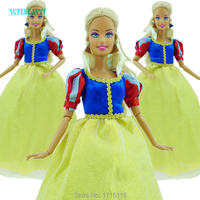 Gorgeous Princess Dress Wedding Party Dance Gown Copy Snow White Clothes For Barbie Doll FR Kurhn Puppet 11 12 inch Kid Toy Gift(China (Mainland))