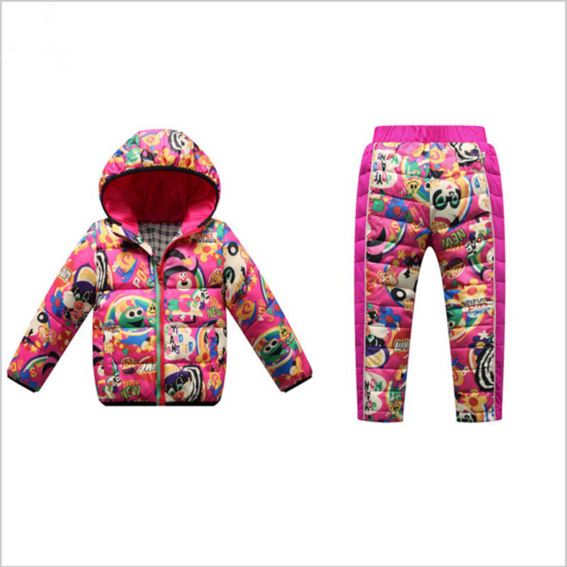 Фотография Hooded Kids Thermal Clothing Sets White Duck Down Padded Winter Boys Girls Thick Jacket + Trousers Baby Children Warm Suits 2016