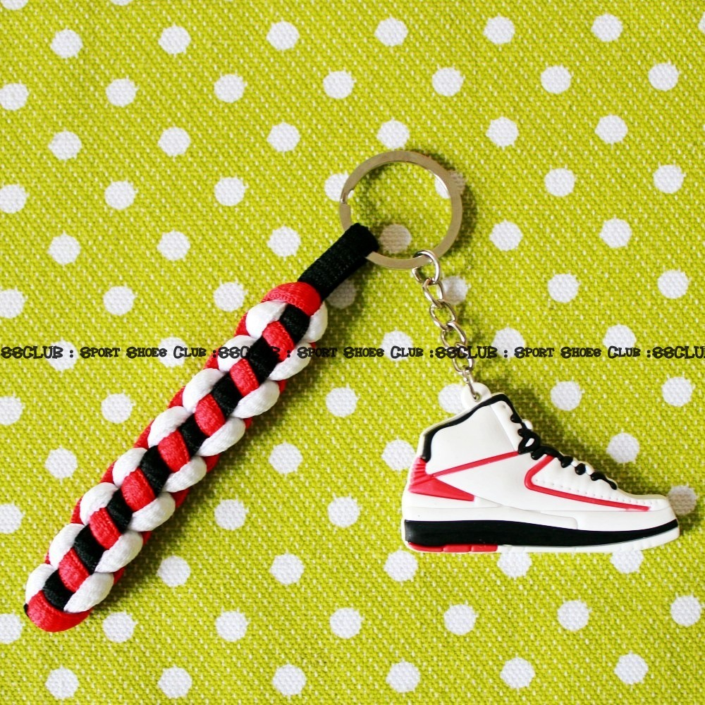 Retro Shoes Keychains Red Green Air Jordan 2 Keyring Key ring Rastaclat Sports Braided Key Chain Erin Paisley-Stueber(China (Mainland))