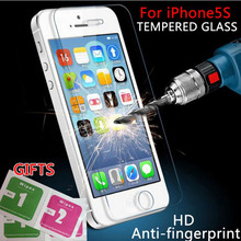 For iphone5 5S screen protector Tempered Glass Film for iPhone5 5S 5C 9H Hard 2.5D Arc Edge Round Border Front Screen Protector