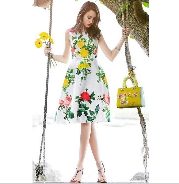 [Factory Outlet] Beautiful Fashion Cute Flower Girl Sleeveless Party Dresses Fashion Rose Print Line Dress F-1580 Free Shipping(China (Mainland))