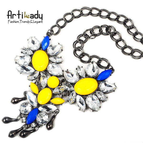 Artilady 2013 new big choker necklace crystal pendent gold jewelry statement necklace sales for free shipping