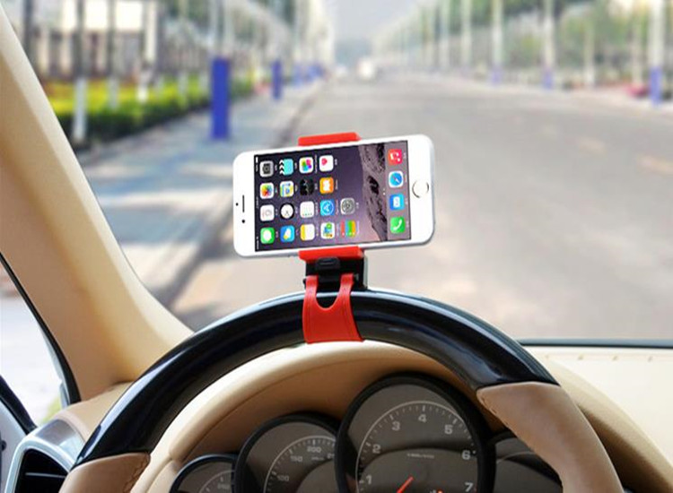 Steering Wheel Cradle Holder SMART Clip Car Mount for iphone 4 4s 6 6s plus for samsung note 2 3 4 suporte GPS ps3(China (Mainland))