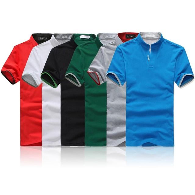Классический мода мужчины стоят-воротник футболка с коротким рукавом сплошной цвет тройника размер M-XXXL