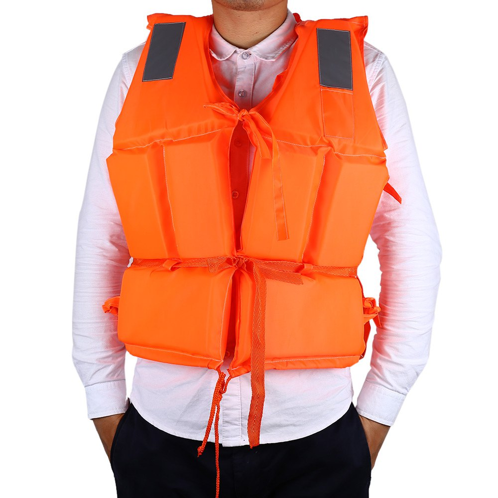 Professional Adult Oxford Working Life Jacket Vest with 4 Orange Reflector Chaleco and Whistle for Boat Surfing(China (Mainland))