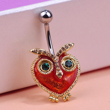 Luxury brand Steampunk Owl Percing Men Colar Masculino Sexy Body Piercing Jewelry 18K Gold Enamel Navel Rings Colares Bijuterias