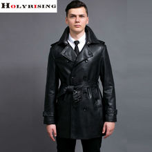 Fashion Black Trench Coat Men Spring Autumn Style Casual Double Breasted PU Trenchcoat Slim Turn Collar Windbreaker Size S-6XL(China (Mainland))