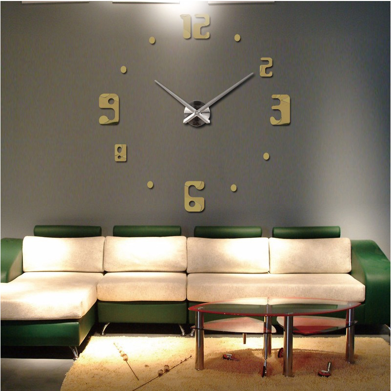 2016 new big wall clock living room quartz metal modern for Design wall clocks for living room