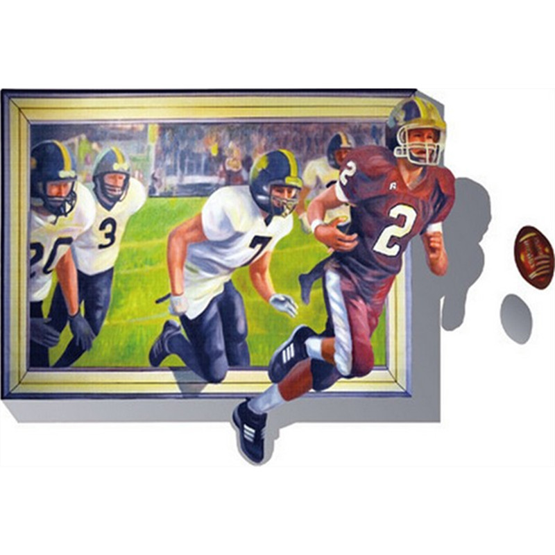 False photo frame wall stickers rugby football sports 3d vinyl decals home bar decoration living room art posters free shipping(China (Mainland))