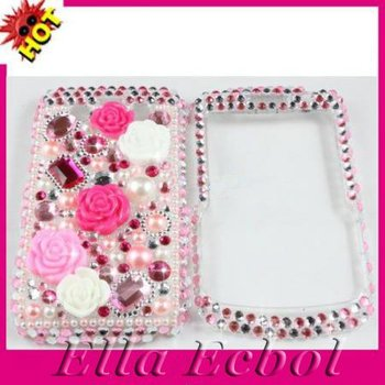 Free Shipping Brand New Skin Cover Case Pink Rose Bling Diamond Hard Cover Case for Blackberry Bold 9700 3pcs/lot