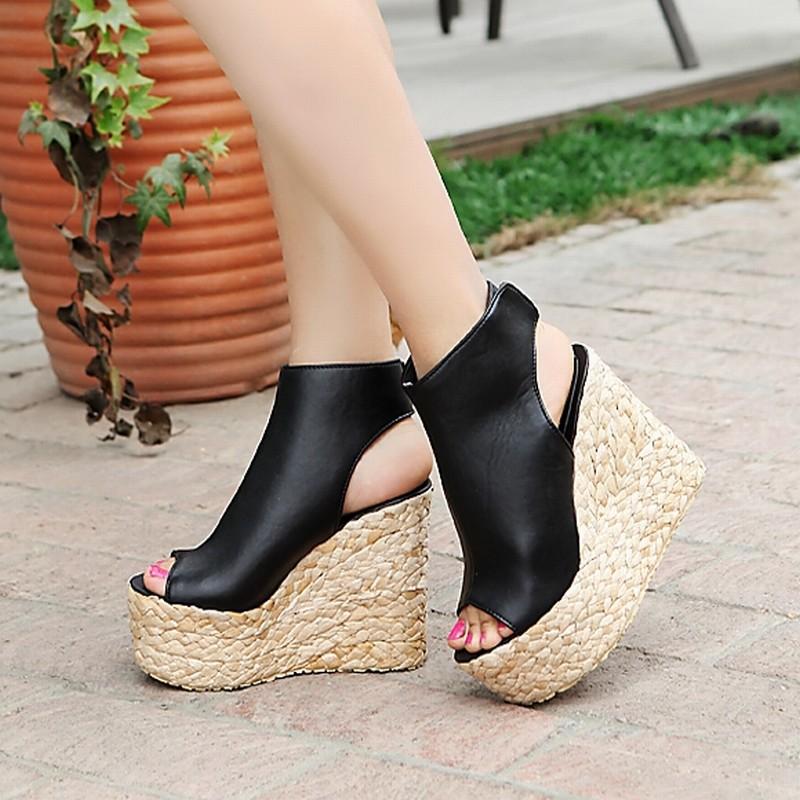 New 34-43 Bohemia Weaven Wedges Ankle Wrap Velcro Cut outs Sandals 2015 High Heels Platform Sandals Summer sandals women shoes