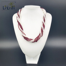 Buy Lii Ji Natural 9-rows White Freshwater Pearl 5-6mm Clear Garnet 925 Sterling Silver Necklace 56cm for $93.10 in AliExpress store