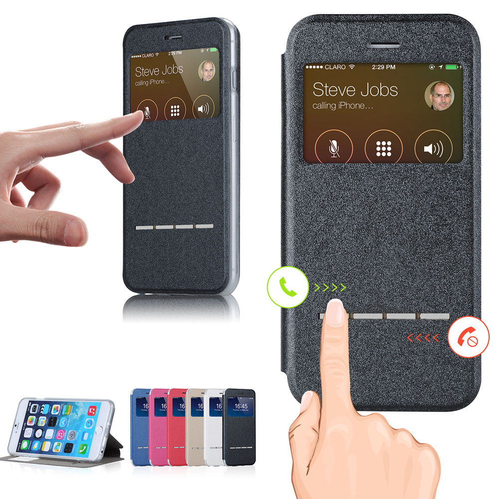 product 2014! Fashion PU Leather Case For iPhone 6  With View Window Flip Stand Cover For iPhone 6 Case 4.7 With Retail Box