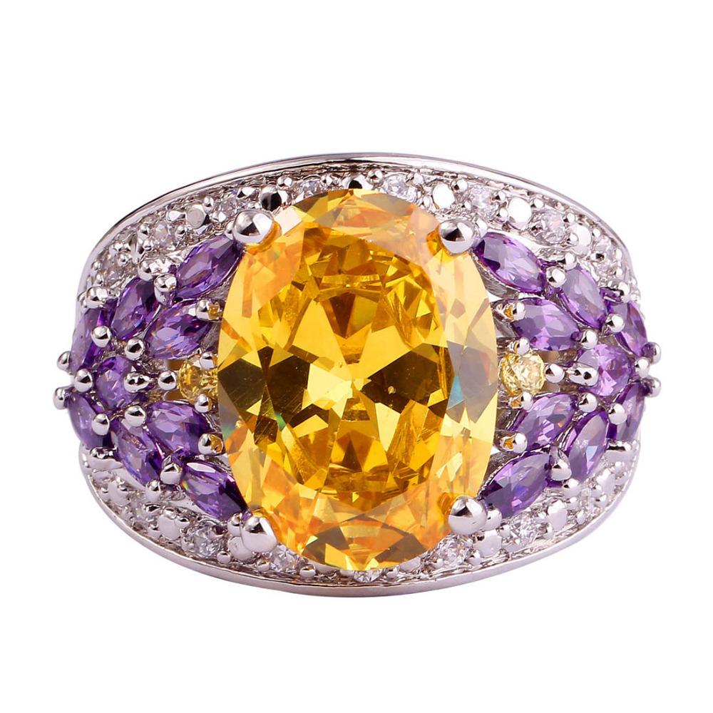 lingmei Wholesale Fashion Women Men Jewelry Citrine Amethyst White Topaz Silver Ring Size 8 Twinkling Party Rings Free Ship(China (Mainland))
