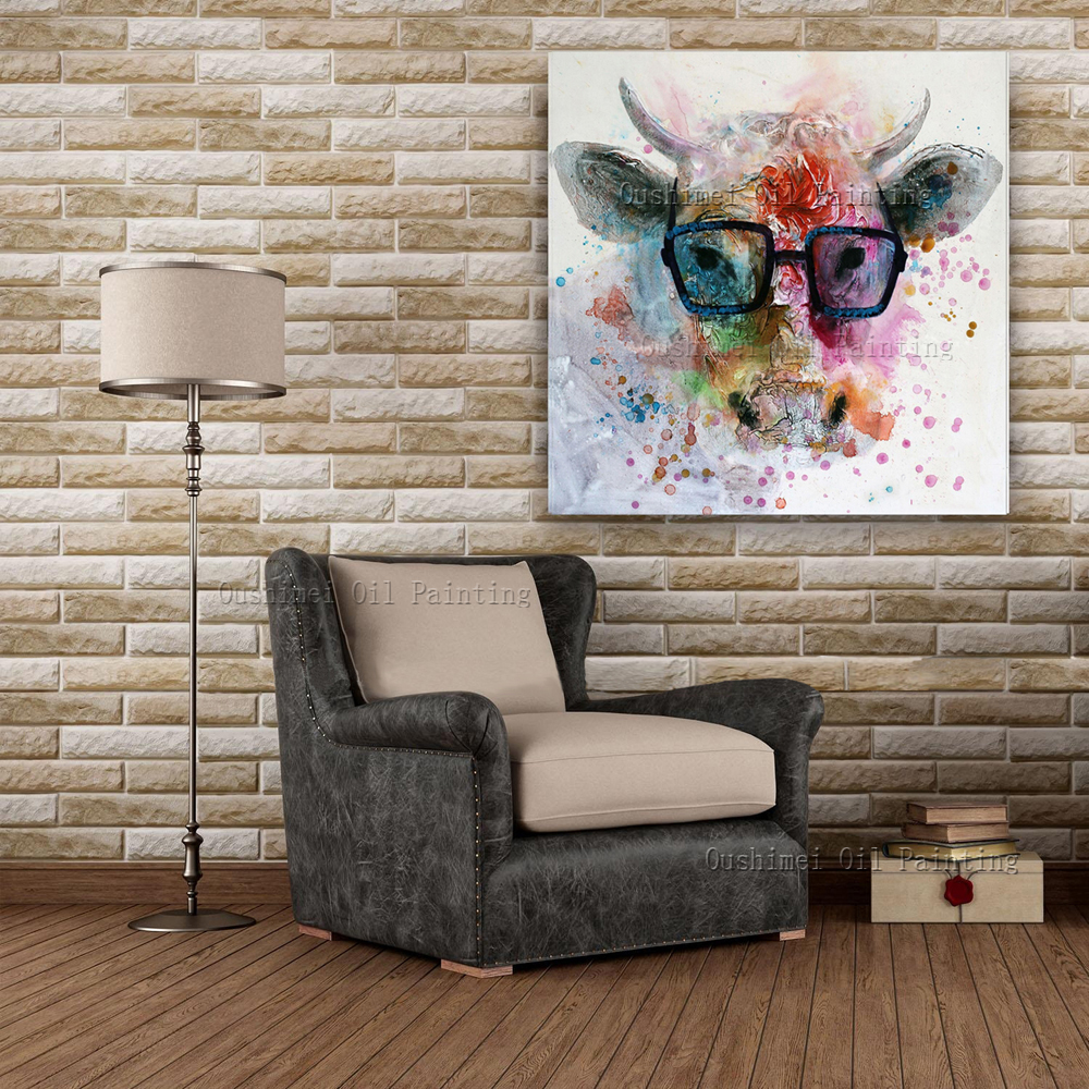 US $33.0 50% OFF Handmade Animal Oil Painting Hang Paintings Modern Cartoon  Abstract Cow Picture For Living Room Decor Wall Art Canvas Painting-in ...