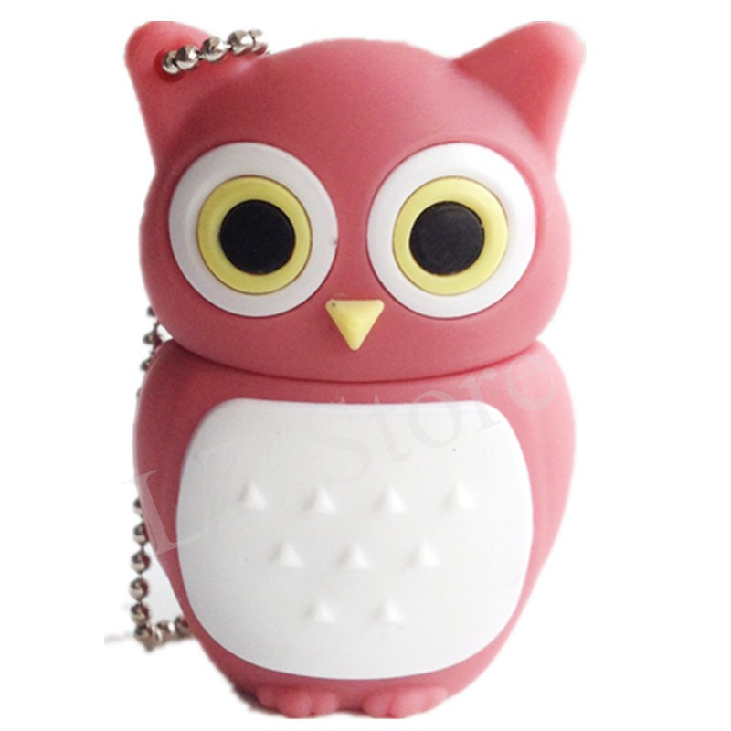 mini pen drive pink owl animal gift pen drive 8gb 16gb 32gb 64gb 4gb cartoon usb flash drive pendrive free shipping(China (Mainland))