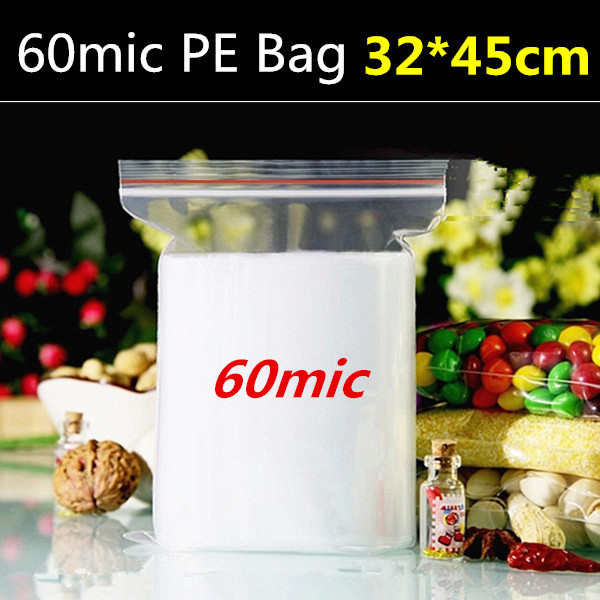 50pcs 32cm*45cm*60micron large plastic gift package, plastic zipper bag, travel use clothes bag(China (Mainland))