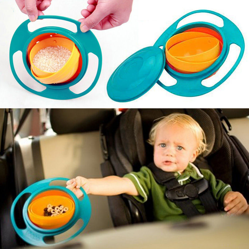 Sale Baby Kid Boy Girl Gyro Feeding Toy Bowl Dishes Non Spill Universal 360 Rotate Technology Funny Gif Promotion(China (Mainland))