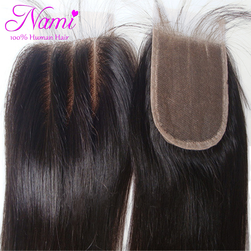 Top Quality Brazilian Virgin Human Straight Hair 4x4 Lace Closure 3 Way Part Bleached Knots Free Middle Three Part Free Shipping(China (Mainland))
