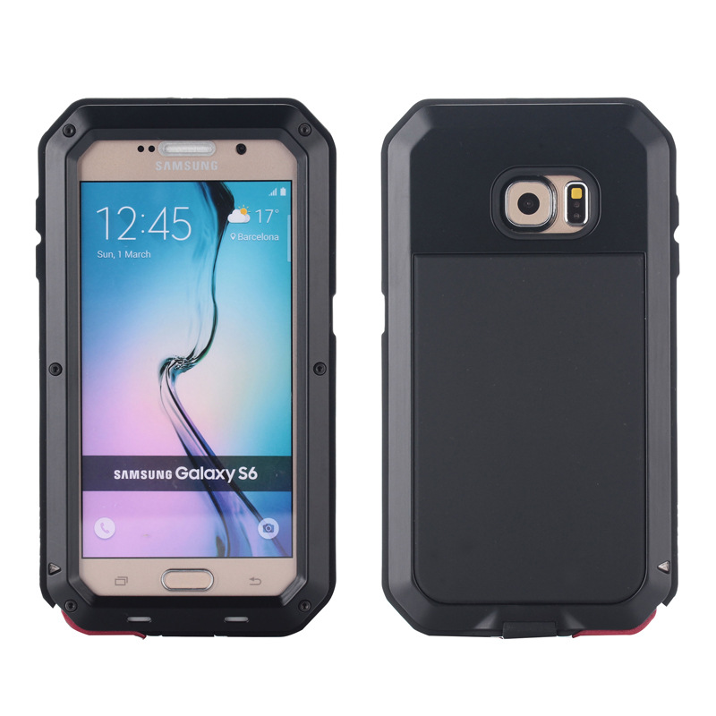Hot Sale Powerful Shockproof Waterproof Aluminum Gorilla Glass Metal Cover Cell Phone Case For Samsung Galaxy S6 G9200(China (Mainland))