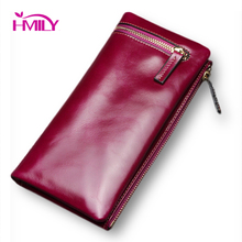 Fashion Brand Luxury Women Long Wallet Genuine Leather Smooth Zipper New Leather Female Purse Casual Card Cash Clutch Bag Ladies